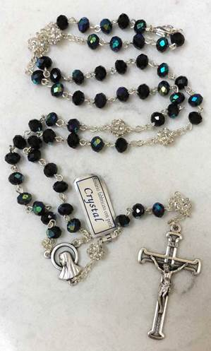 Black Aurora Borealis Crystal Bead Rosary from Italy
