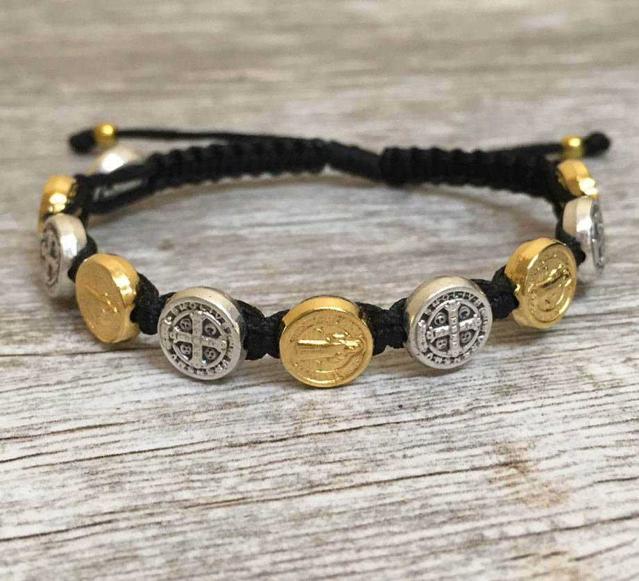 Black Benedictine Bracelet with Mixed Medals favors, bracelet, blessing bracelet, medjugorje bracelet, st benedict bracelet, colored bracelet, handmade bracelets, girl gift, boy gift, sacramental gift, healing gift, prayer gift, first communion gift, reconciliation gift, confirmation gift, graduation gift, quantity discounts,
