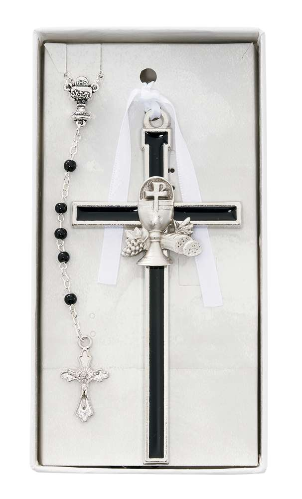 Black Chalice Cross with Black Rosary