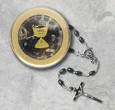 Black Communion Rosary With Round Clear Box