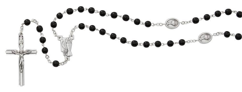 Black Glass Bead First Communion Rosary, Chalice Our Father Beads
