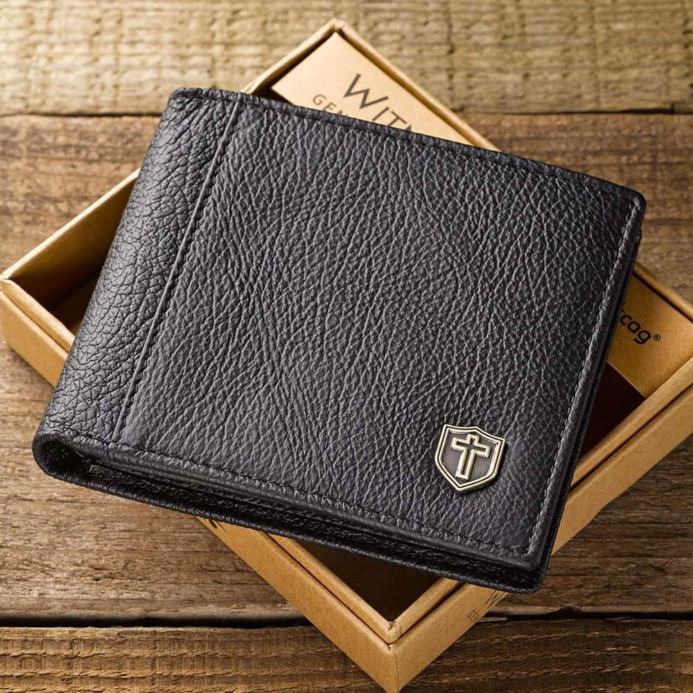 Black Leather Wallet with Cross