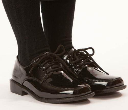 Black Paten Lace-Up Shoes