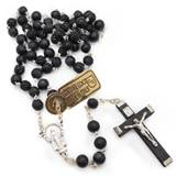 Black Rosary Carved Cocoa Bead
