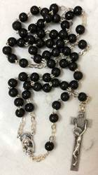Black Round Bead Wood Rosary made in Italy
