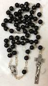 Black Round Bead Wood Rosary