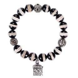 Black/White Stripe Agate & Quartz Prayer Box Bracelet