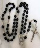 Black Wood Oval Bead Rosary from Italy