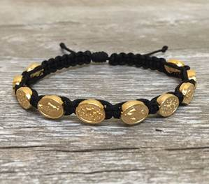 Black and Gold Miraculous Medal Blessing Bracelet