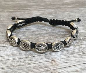 Black and Silver Miraculous Medal Blessing Bracelet
