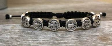 Black and Silver St. Benedict Blessing Bracelet with Story Card