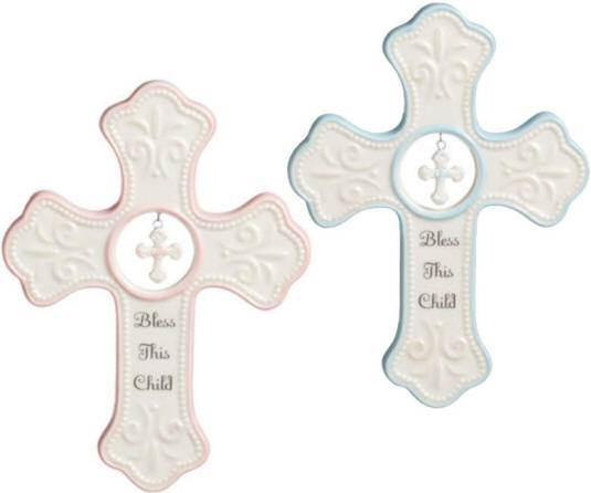 Bless This Child Wall Cross new baby gift, baby gift, baptism gift, christening gift, boy gift, girl gift, baby cross, wall cross, baptism cross, christening cross, pink cross, blue cross, bless this child cross
