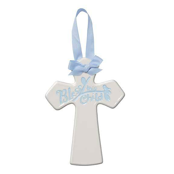 Bless this Child Blue Ceramic Cross
