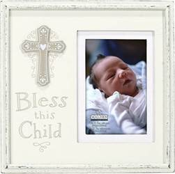 "Bless this Child cream distressed wood with mat and cross attachment. Holds 4"" x 6"" photo."
