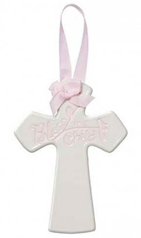 Bless this Child Pink Ceramic Cross