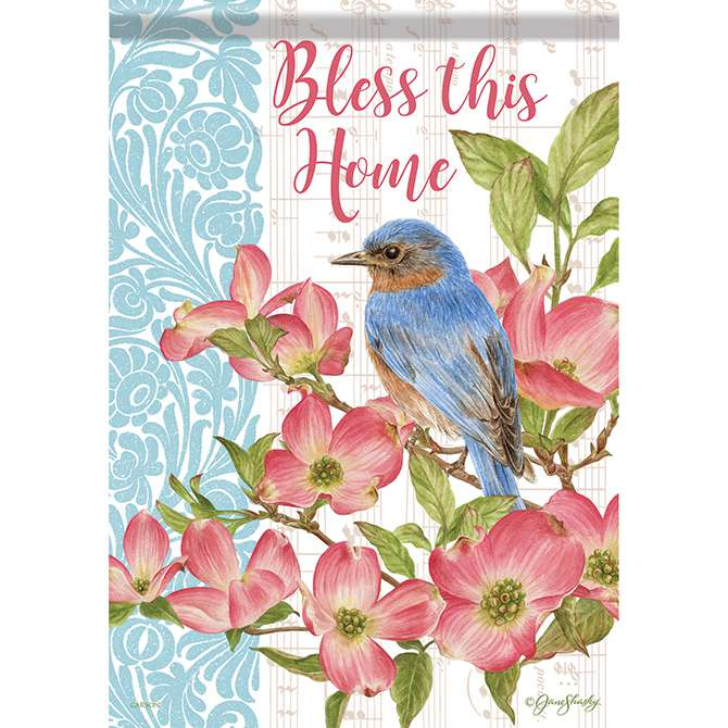 Bless this Home Bluebird House Flag