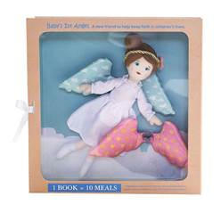 Blessed Baby Guardian Angel Girl with Book angel, angel doll, guardian angel, baby gift, shower gift, guardian angel gift, angel wings, book childs book, childrens book, doll set, gift set, 201