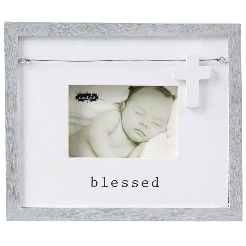 Blessed Charm Frame, Distressed Grey-Washed Wood