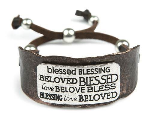 Blessed Heavy Cuff Bracelet CUFF BRACELET, MESSAGE BRACELET, JEWELRY, INSPIRATIONAL JEWELRY, BLESSED, LEATHER, M-BR-21