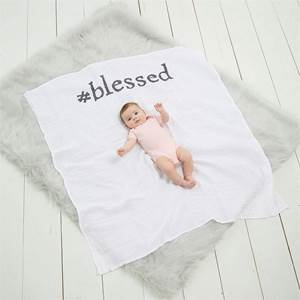 #Blessed New Baby Announcement Blanket