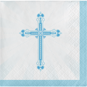 Blessings Blue Beverage Napkins 36/pkg