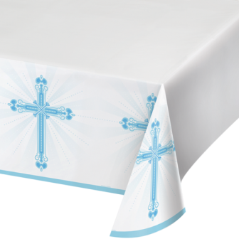 Blessings Blue Plastic Tablecover