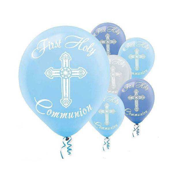 Blue First Communion Latex Balloons