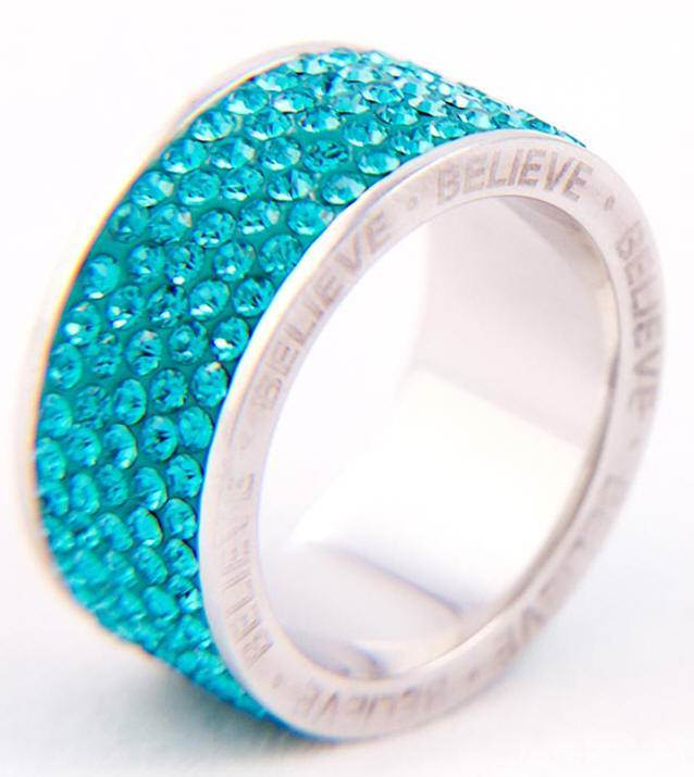 Blue Crystal Believe Ring*WHILE SUPPLIES LAST* sterling silver ring, silver ring, trendy ring, blue crystal, message ring, jewelry,04436, 04432, 04434, 044355