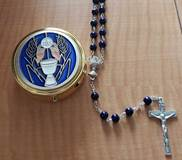 Blue Enamel First Communion Keepsake Box with Blue Rosary