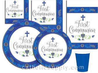 Blue First Communion Paper Plates, Napkins, & More
