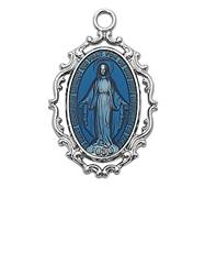 "Blue Miraculous Medal Sterling Silver on 18"" Chain"