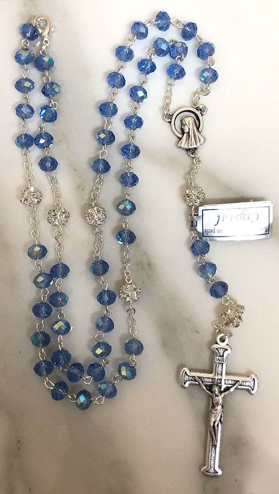 Blue Sapphire Crystal Rosary from Italy