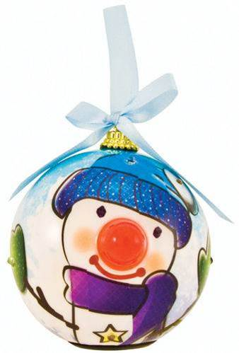Blue Snowman Lighted Nose Ball Ornament