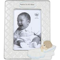 Baptized In His Name, Bisque Porcelain Photo Frame, Boy
