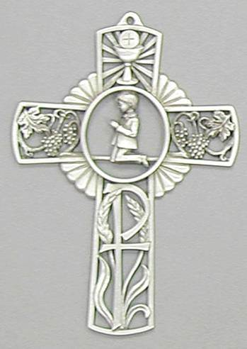 Boy Pewter First Communion Wall Cross