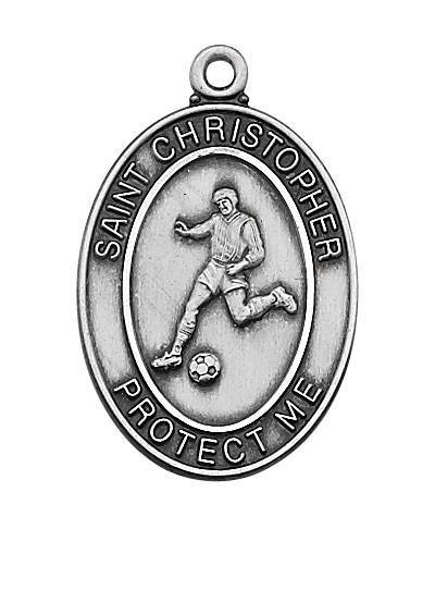 "Boy's Sterling Soccer Medal With 24"" Chain"