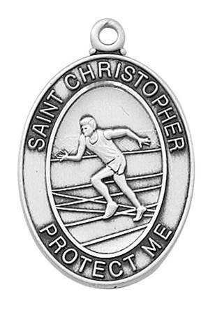 "Boy's Sterling Track Medal With 24"" Chain"
