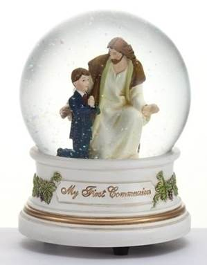 Boy with Jesus First Communion Musical Glitterdome