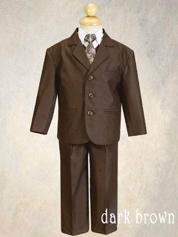 Boys 5 Piece Suit Dark Grey