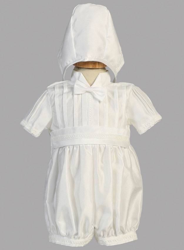 Boys Christening Romper with Bonnet, Size Small