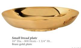 "Brass Gold Plate Small Bread Plate 10"" diam, 800 host capacity, 1.75"" tall"