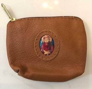 Brown Leather St Francis Zipper Rosary Case from Italy