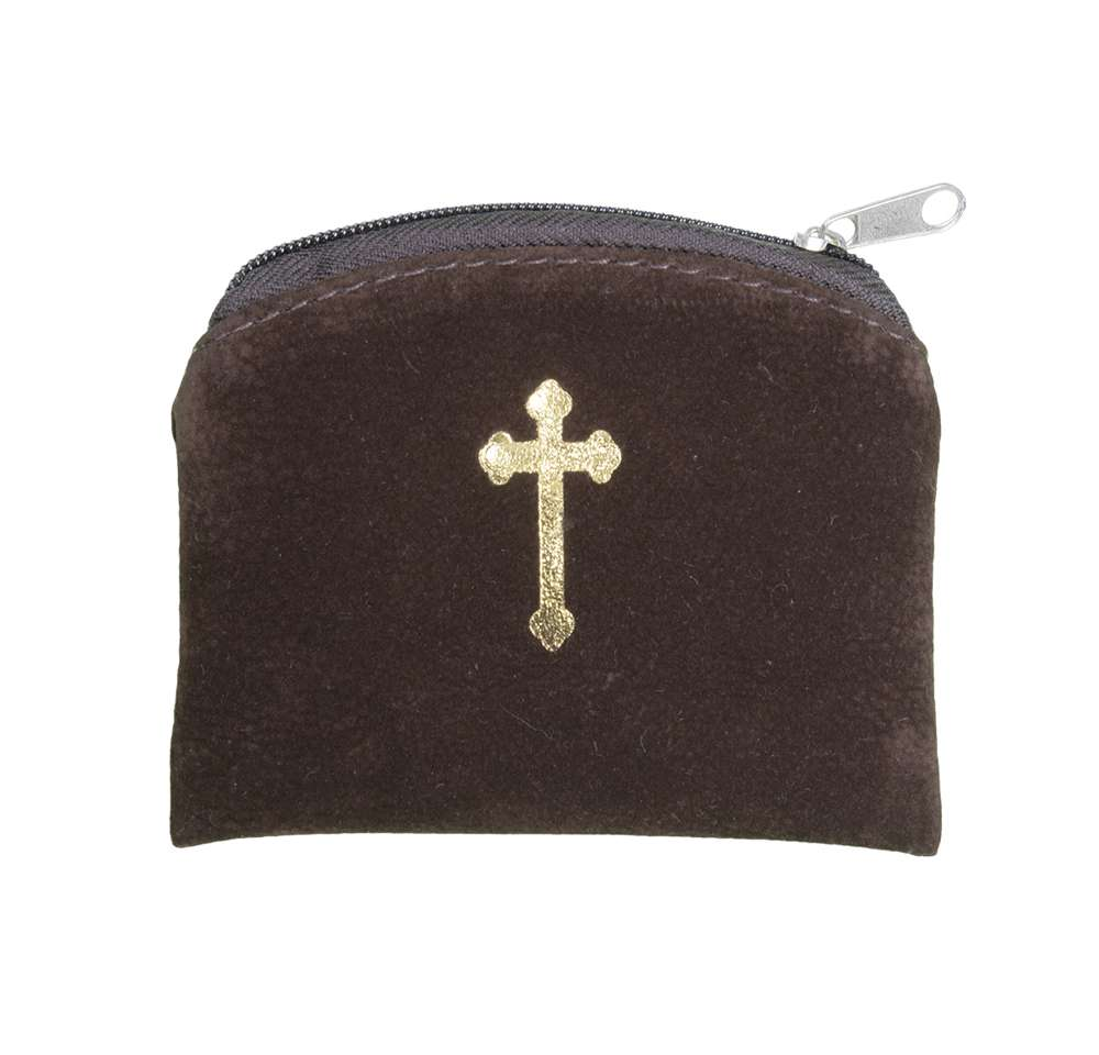 "Brown Suede Gold Stamped 3""X4"" Rosary Case"