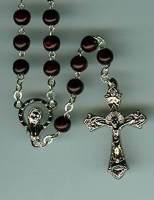Brown Wood Bead Rosary