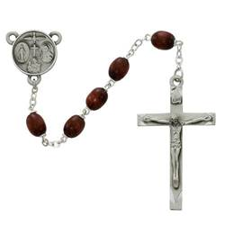 Brown Wood Rosary brown wood rosary,137D-BRF, 4-way, pewter, sacramental gift, pewter crucifix, first communion gift, first communion rosary,