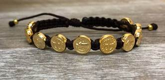 Brown and Gold St. Benedict Blessing Bracelet with Story Card