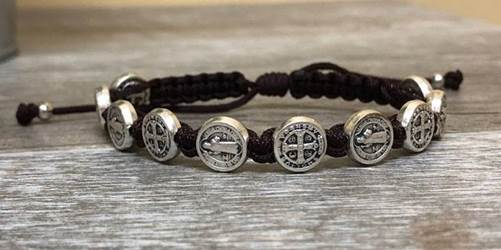 Brown and Silver St. Benedict Blessing Bracelet with Story Card