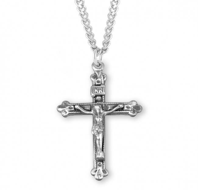 "Budded Tip Sterling Silver Crucifix on 20"" Chain"