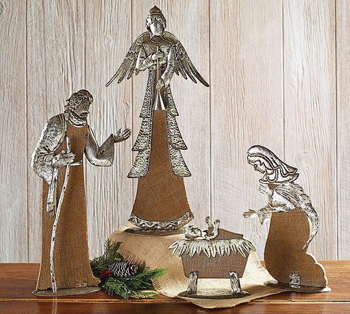 Burlap & Antique Silver Metal Nativity Set