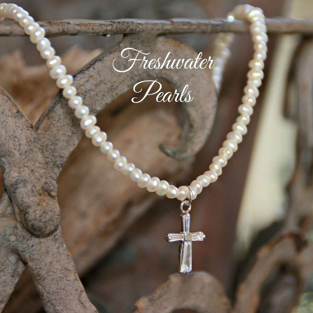 CZ cross & Freshwater Pearls Necklace